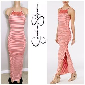 Jessica Simpson ruched maxi dress. NWOT